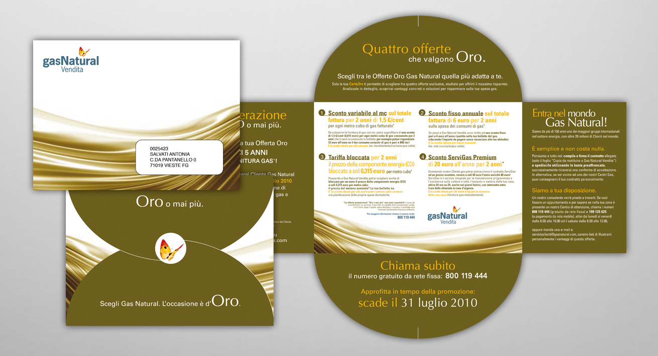 Direct mailing Oro o mai più - Gas Natural Vendita