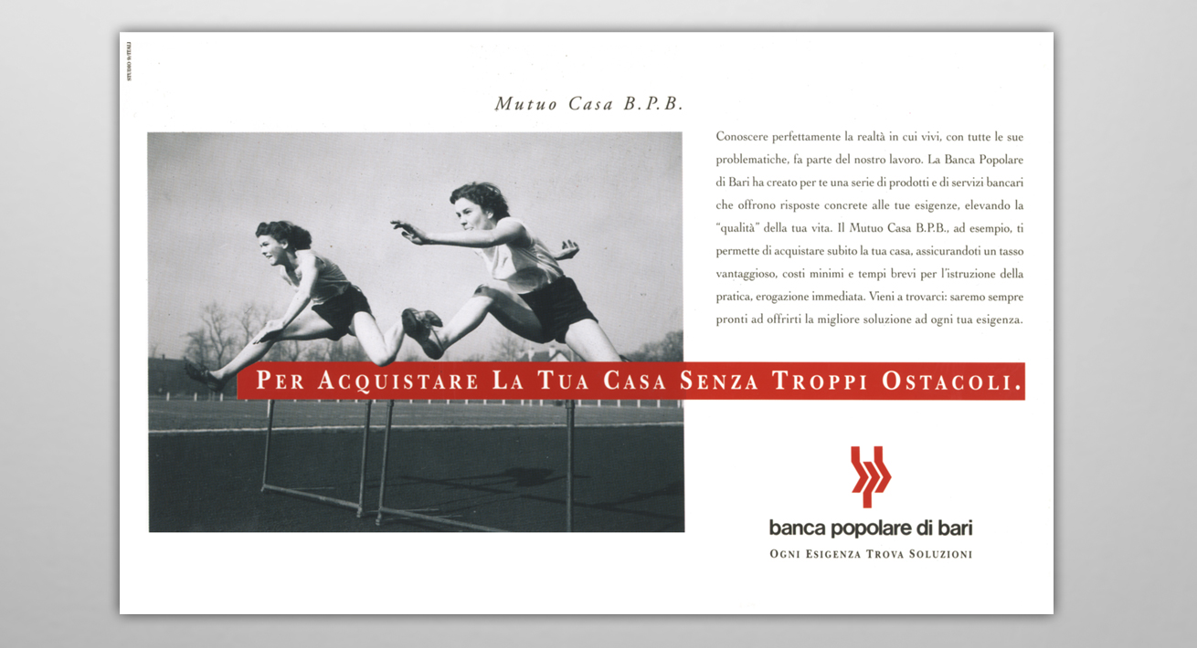 """Campagna prodotto """"Mutuo Casa"""" Banca Popolare di Bari"""