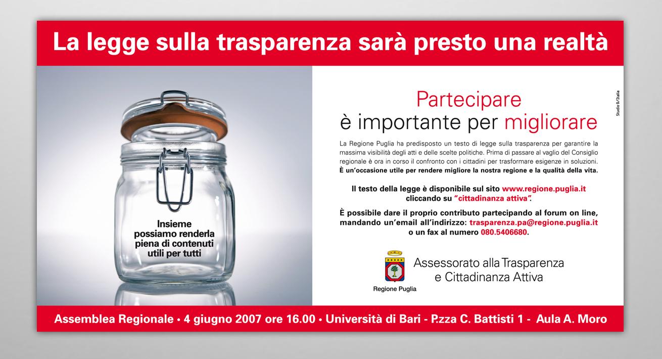 """Campagna di sensibilizzazione """"Legge sulla Trasparenza"""" Regione Puglia"""