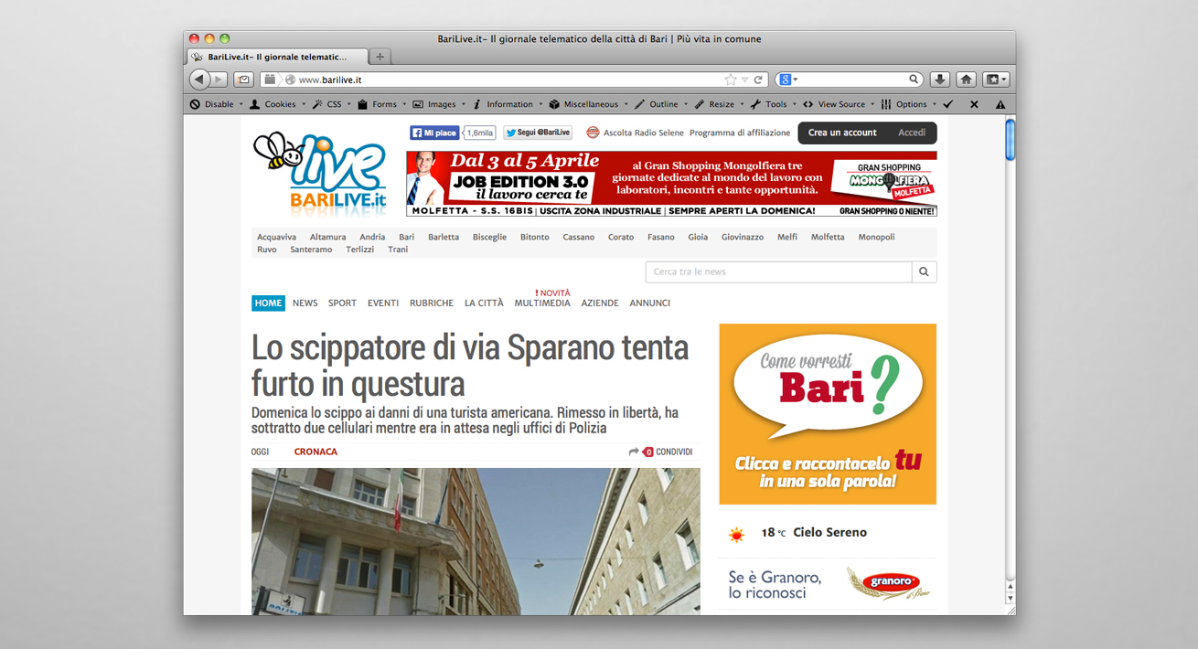 Campagna di ascolto Elezioni comunali 2014 Bari - Candidato Di Paola